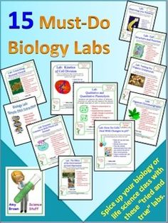 """Great lab experiences are the key to a successful biology or life science course. Spice up your class by having your students perform these 15 """"must-do"""" biology labs. Students love lab work! If you give them plenty of lab opportunities, their excitement for your course will grow, and retention of complex and difficult concepts will improve. Science Labs, Science Biology, Science Resources, Ap Biology, Life Science, Science Education, Science Activities, Chemistry Labs, Science Geek"""