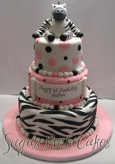 Zebra Birthday Cake    I think it says Happy 1st Birthday, but even a grown up girl like me would love to have this for my birthday!!