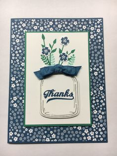 www.juststampin.com Stampin' Up! Gift set of cards, Thank you cards, Jar of Love Stamp Set, Everyday Jars Framelits, 2016-2018 In Colors, Floral Affection Embossing Folder