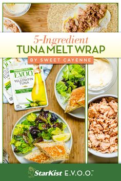 We're big fans of recipes where you can count the number of ingredients on one hand: whole grain wrap, a spreadable cheese, dijon mustard, StarKist E.V.O.O. Yellowfin Tuna, and olive tapenade are all you need for these Tuna Melt Wraps from Sweet Cayenne. Wrap Recipes, Paleo Recipes, Paleo Food, Tuna Melt Wrap Recipe, Work Meals, Fit Meals, Nutritious Meals, Healthy Dinners, Easy Meals