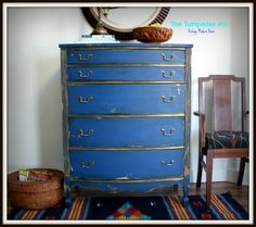 Reserved for Richie Vintage Cobalt Blue Chest / Dresser Trimmed in Gold