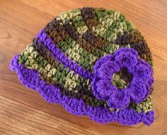Crocheted Baby Girl Camo and Royal Purple Hat by KaraAndMollysKids, $16.00