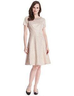 M&S Collection - Vestido de gala de jacquard con escote con efecto perla