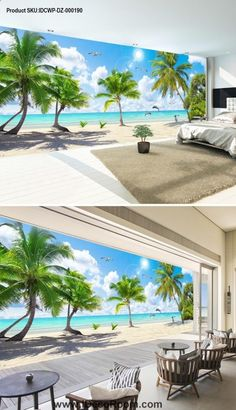 ✨ imagining a beautiful beach theme in our bedroom 💋🤗💋 3d Wallpaper Green, Wallpaper Ceiling, 3d Wallpaper For Walls, Beach Wallpaper, Wallpaper Decor, Home Wallpaper, Tree Landscape Wallpaper, Home Room Design, House Design