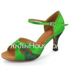 Dance Shoes - $38.99 - Women's Satin Heels Sandals Latin With Ankle Strap Dance Shoes (053021573) http://jenjenhouse.com/Women-S-Satin-Heels-Sandals-Latin-With-Ankle-Strap-Dance-Shoes-053021573-g21573