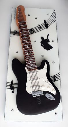 This is awesome! I wouldn't want to eat it :D Guitar Birthday Cakes, Guitar Cake, Music Themed Cakes, Music Cakes, Fender Stratocaster, Fondant Cakes, Cupcake Cakes, Cupcakes, Beautiful Cakes