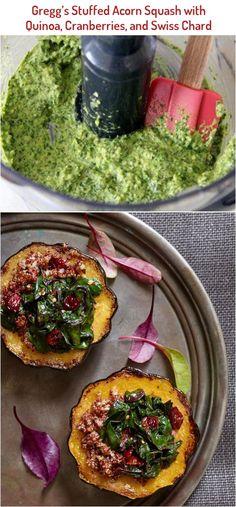 Gregg's Stuffed Acorn Squash with Quinoa, Cranberries, and Swiss Chard Cardamon Recipes, Pepperocini Recipes, Chard Recipes, Acorn Squash, Greggs, Cranberries, Palak Paneer, Quinoa, Ethnic Recipes