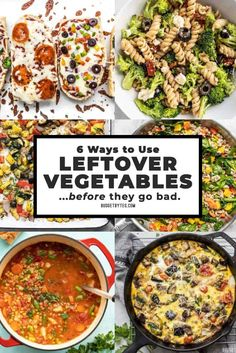 If you find yourself with a fridge full of vegetables at the end of the week, reduce food waste with one of these 6 easy ways to use leftover vegetables! Vegetable Recipes, Vegetarian Recipes, Cooking Recipes, Healthy Recipes, Budget Cooking, Frugal Recipes, Frugal Meals, Oven Recipes, Vegetarian Cooking
