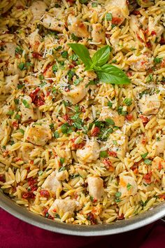 Sun Dried Tomato Basil and Parmesan Orzo with Chicken. I might add the sundried tomatoes while the orzo is cooking to absorb some of the flavor. Easy Dinner Recipes, Pasta Recipes, Salad Recipes, Chicken Recipes, Cooking Recipes, Healthy Recipes, Budget Recipes, Top Recipes, Shrimp Recipes