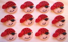 Fondant Cupcake Toppers  Pirate Faces  Edible by CakesAndKids, $17.95