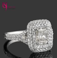 """Determine additional information on """"princess cut diamonds with halo"""". Take a look at our web site. Radiant Cut Diamond, Diamond Cuts, Halo Diamond Engagement Ring, Engagement Rings, Double Halo Rings, Princess Cut Diamonds, Wedding Rings, Wedding Bells, White Gold"""