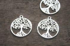 15 stuks- boom des levens charmes, antieke Tibetaanse zilveren 2-zijdig wensboom charme hangers, gelukkige boom 26x29mm