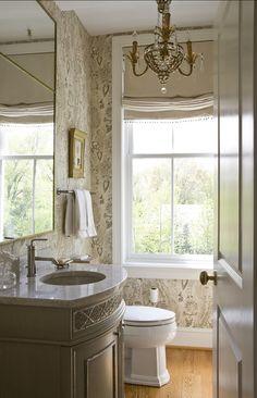 Powder Room. Traditional Powder Room Design. Powder room with wallpaper. #PowderRoom #TraditionalPowderRoom  2 Ivy Lane.