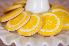 Lula's Lemonade Party: lemon slice cookies, decorated with royal icing