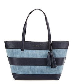 MICHAEL Michael Kors Striped Denim Tasseled Large EastWest Tote #Dillards
