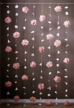 This is gorgeous display features a combination of the Anthropologie- inspired paper flower garland and the tissue paper puff garland. Paper Flower Garlands, Tissue Paper Flowers, Tissue Paper Decorations, Tissue Paper Crafts, Tulle Garland, Hanging Paper Flowers, Flower Paper, Paper Flower Backdrop, Floral Garland