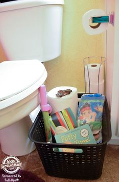 The Kids Activities Blog has great suggestions for a potty training essentials basket to keep in the bathroom. We love that it includes bubbles and books!