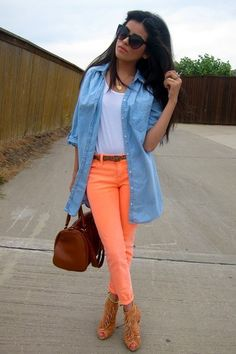 bright coral jeans.. love!