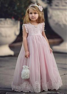 Buy discount Charming Organza & Satin Jewel Neckline A-Line Flower Girl Dresses With Lace Appliques at Laurenbridal.com