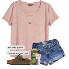 A fashion look from March 2018 featuring H&M t-shirts, Abercrombie & Fitch shorts and Birkenstock sandals. Browse and shop related looks.