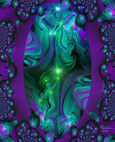 """""""The Guide"""" is a green and purple abstract art print in my reiki energy art line of angel decor. I created this original digital painting in July of 2012. This reiki inspired angel art would be a beau"""