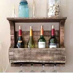 Small Reclaimed Wood Wine Rack with Shelf by Del Hutson on Scoutmob Shoppe Better size! Decor, Home Projects, Interior, Diy Furniture, Wood Projects, Home Decor, Reclaimed Wood Wine Rack, Wood Wine Racks, Pallet Wine