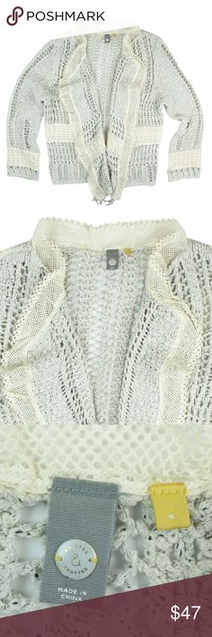 "ANTHROPOLOGIE Crochet & Lace Cardigan Sweater Excellent condition! This light gray and Ivory crochet and lace cardigan sweater from Knitted & Knotted features lace trim detail and an open front style. Made of a cotton blend. Measures: bust: 39"", total length: 21"", sleeves: 22"" Anthropologie Sweaters Cardigans"
