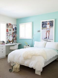 20 Pretty and Stylish Teenage Girl Bedroom Ideas The turquoise accent wall w the simple white sheets & 15 Best Images About Turquoise Room Decorations   Pinterest   Blue ...