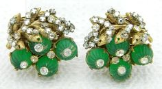 VTG MIRIAM HASKELL Green Glass Flower Clear Rhinestone Clip Earrings #MiriamHaskell #Clip