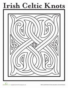 St. Patrick's Day Kindergarten Holiday Worksheets: Celtic Design Coloring Page