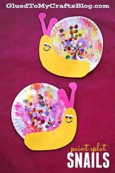 Paint Splat Snails - Kid Craft Idea #gluedtomycrafts Paper Plate Snails