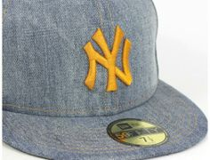 76ca644b7f New York Yankees Washed Denim 59Fifty Fitted Baseball Cap by NEW ERA x MLB  Fitted Baseball