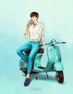 fanart : kai on scooter Exo Kokobop, Chanyeol Baekhyun, Exo Kai, K Pop, Kai Arts, Exo Anime, Exo Fan Art, Fanarts Anime, Bts And Exo
