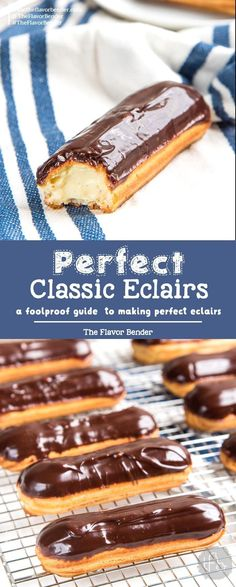 Perfect Classic Chocolate Eclairs (Foolproof Recipe) - The Flavor Bender - Classic Chocolate Eclairs – A foolproof recipe for making perfect eclairs that are crisp and puffy and filled with chocolate or vanilla pastry cream. Brownie Desserts, Mini Desserts, Party Desserts, Just Desserts, Delicious Desserts, French Desserts, Plated Desserts, Chocolate Eclair Recipe, Chocolate Recipes
