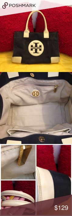 Tory Burch Small Tote Black & cream color. Light wear on outside and handles. Has snap button and 3 pockets inside. Authentic Tory Burch. Tory Burch Bags Totes
