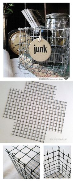 DIY wire basket tutorial - maybe a project for my extra chicken wire! Diy Projects To Try, Craft Projects, Metal Projects, Chicken Wire Crafts, Diy Inspiration, Wire Baskets, Corner Designs, Crafty Craft, Crafting