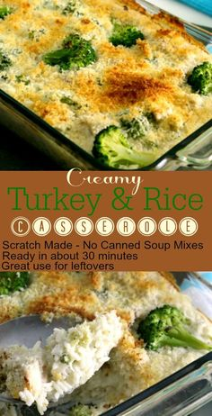 This Creamy Turkey Rice Casserole is real food meets comfort food. Made from scratch without MSG, prepackaged sauces, or cream of anything soups, this dish is quick and easy and uses up that pesky… Turkey Noodle Casserole, Rice Casserole, Casserole Recipes, Enchilada Casserole, Real Food Recipes, Chicken Recipes, Cooking Recipes, Healthy Recipes, Pasta Recipes