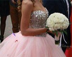 Del hombro Tulle quinceanera vestidos Bling Bling Crystal Pink Sweetheart vestidos backless del vestido de bola vestidos de festa