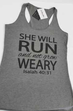 She Will Run and Not Grow Weary Workout Tank Top. Strong - Tap the pin if you love super heroes too! Cause guess what? you will LOVE these super hero fitness shirts! Yoga Tank Tops, Athletic Tank Tops, Workout Tank Tops, Fitness Gifts, Fitness Pal, Fitness Tanks, Fitness Tracker, Fitness Memes, Funny Fitness