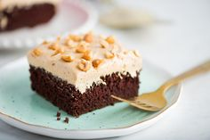 A big chocolate sheet cake is one of the friendliest desserts I know: it's unpretentious, easy to transport, feeds a crowd, and most people find it hard to turn down. What takes this particular one over the top though? Crowning it with a light-as-air honey-peanut butter frosting and a sprinkling of honey-roasted peanuts.