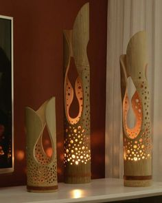 Bamboo … candles works well here but to be safe with open flames, first place … Bamboo … candles works well here but to be safe with open flames, first place them in a heat-proof glass votive candle holder. Bamboo Light, Bamboo Lamp, Ceramic Lantern, Ceramic Art, Pvc Pipe Crafts, Diy And Crafts, Bamboo Crafts, Bamboo Design, Wood Lamps