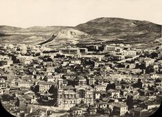 "GABRIELE DE RUMINE. 1862. ""ATHENES. THE GENERALE PRISE DU HAUT DE L'ACROPOLIS / Photographie de Rumine / Paris 10, rue Villedo"". Very Early photograph, lightly albumenised salt print, depicting a panoramic view of Athens from Acropolis hill in the mid. of 19th century."