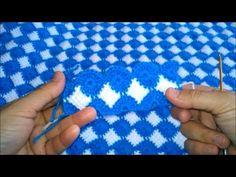 Tığ ve Tunus İşi Birleşimi Mavi Beyaz Battaniye Yapılışı 4 - YouTube