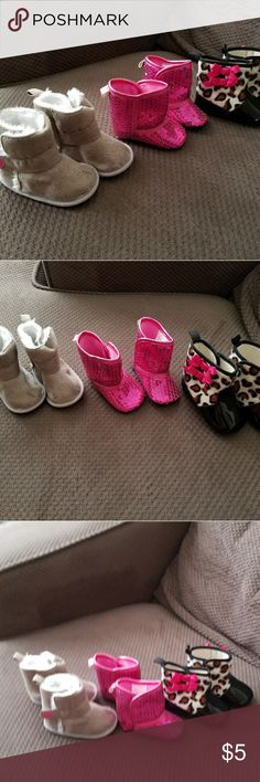 Baby Boots Worn a couple times. Grey pair are 6-12months, pink pair are 3-6months and black pair are 6-9months. Shoes Boots