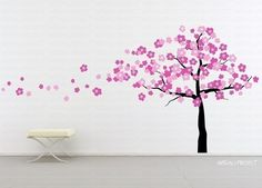 Wall Art Vinyl Decal Sticker Home Kids - Wind Blowing Cherry Blossom Tree. $70.00, via Etsy.