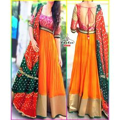 Orange /Pink Gown Dress Modern Indian salwar kameez Press visit link above for more options Indian Attire, Indian Wear, Indian Outfits, Indian Gowns Dresses, Pink Gowns, Pakistani Dresses, Pakistani Clothing, Indian Designer Outfits, Designer Dresses