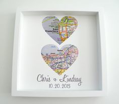 "Map Heart Personalized Anniversary Print. This digital print is customized to ""heart"" your special day. Choose one or two locations to feature on your personalized heart maps. Your print comes beautif"