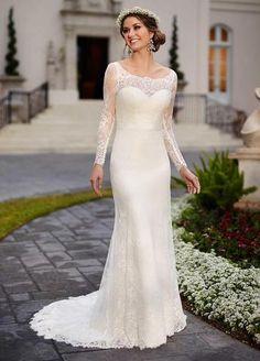 Sheath V Back Lace Wedding Dress with Long Sleeves,Long Sleeve Bridal Dress