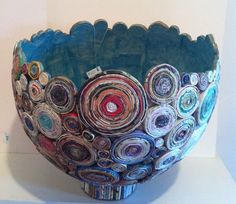 Coiled paper bowl with mache (or sub modge podge tissue paper for the inside)
