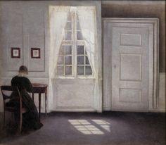 Vilhelm Hammershøi - Interior in Strandgade, Sunlight on the Floor [1901], via Flickr.